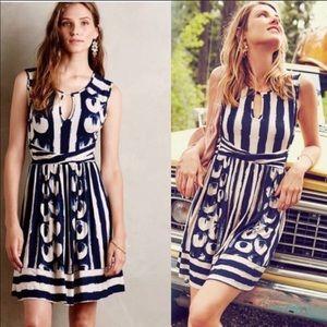 Anthropologie Maeve Sennebec Dress In Blue Print
